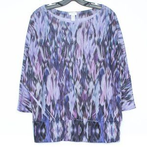 Chicos Top Embellished Dolman Sleeve 2 Large CT